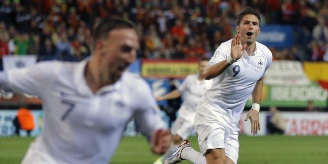 Franck Ribéry (premier plan) et Olivier Giroud, passeur et buteur lors du match nul en Espagne, le 16 octobre.