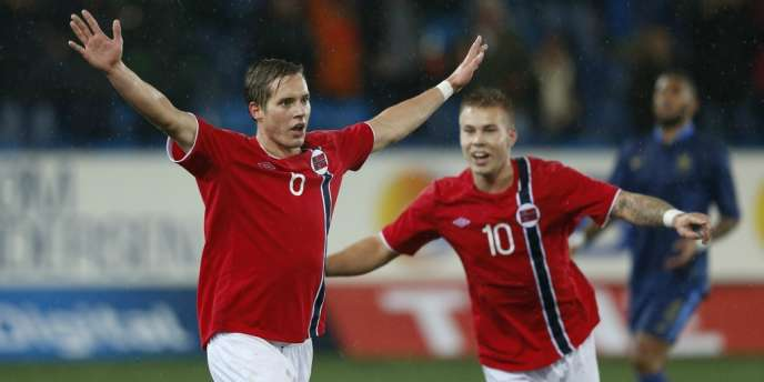Anders Agnes Konradsen exulte, les Norvégiens se sont joués des Espoirs tricolores, le 16 octobre à Drammen.