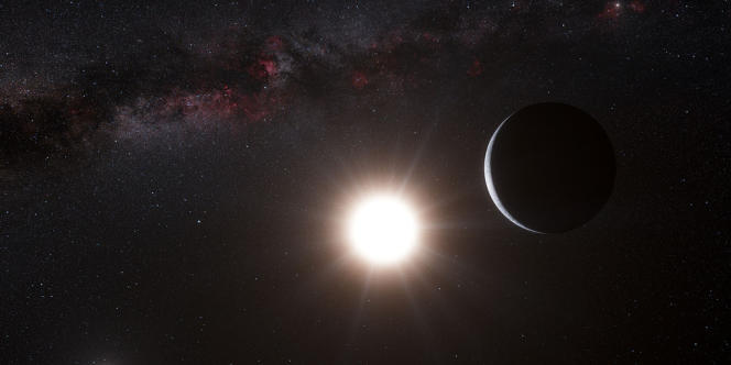 Vue d'artiste de la planète en orbite autour d'Alpha du Centaure B.