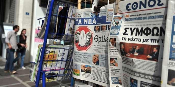 La presse grecque, mercredi 17 octobre, à la veille d'un sommet européen crucial pour le pays, jeudi à Bruxelles.