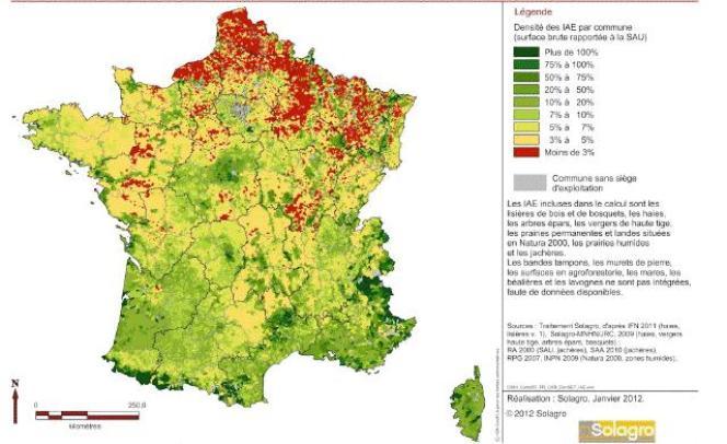 Répartition des surfaces équivalentes topographique en France.