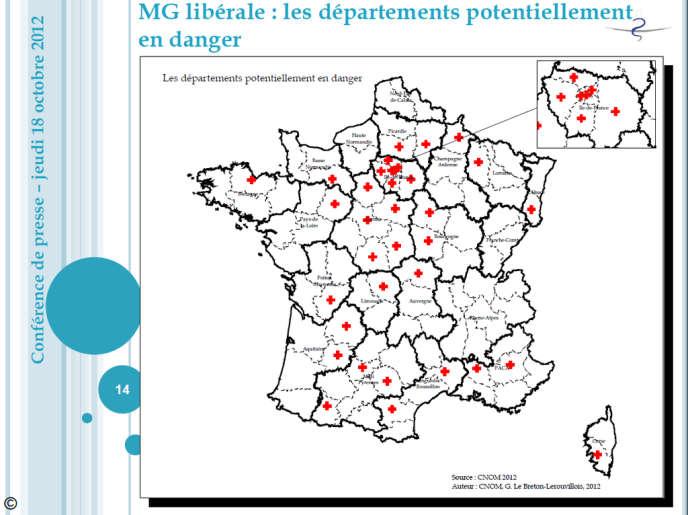 Médecine générale libérale : les départements potentiellement en danger