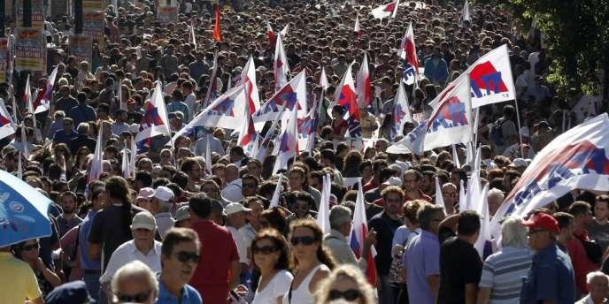 Manifestation anti-austérité le 18 octobre en Grèce.