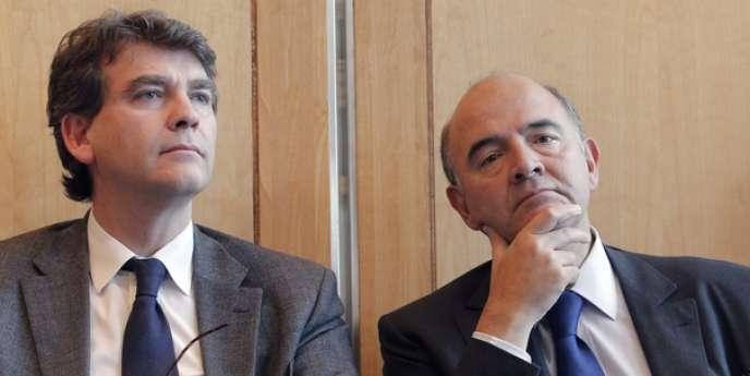 Les ministres Arnaud Montebourg (redressement productif) et Pierre Moscovici (économie), le 17 octobre, à Paris.