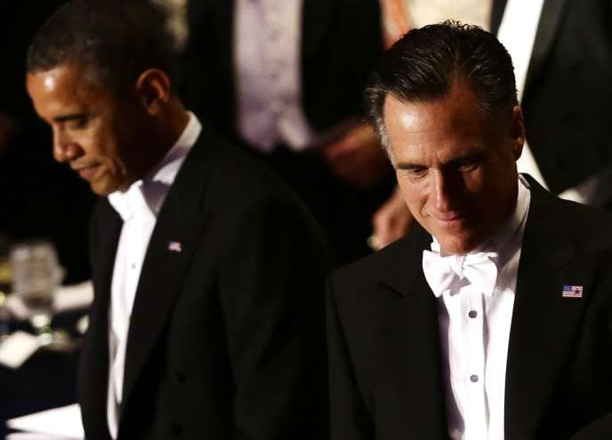 Barack Obama et Mitt Romney au dîner de la Fondation Alfred E. Smith, à New York, le 18 octobre 2012.