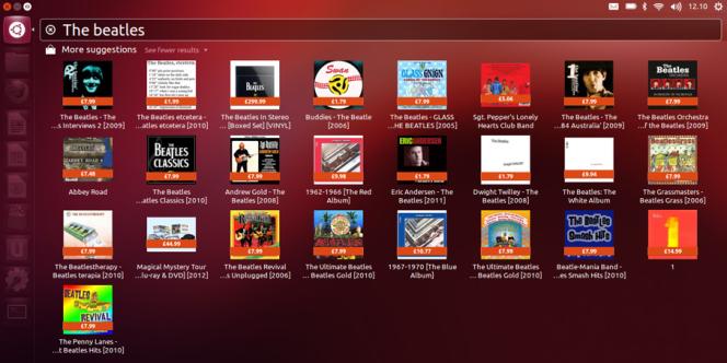 Le Dashboard d'Ubuntu 12.10 intègre désormais les résultats d'Amazon, désactivables.