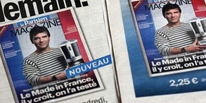 Arnaud Montebourg posant dans sa marinière bretonne pour la couverture du