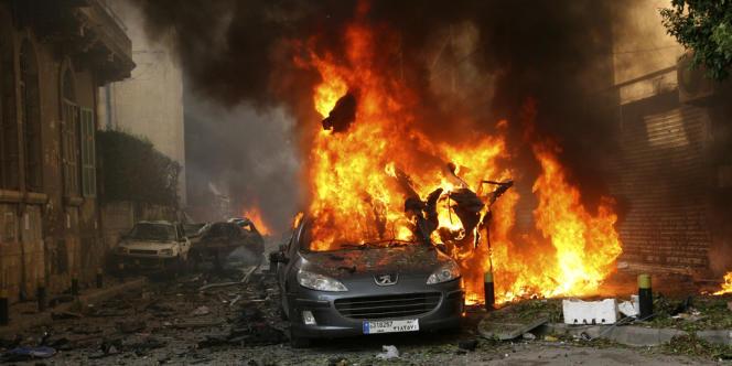 La voiture piégée à Achrafieh à l'est de Beyrouth, le 19 octobre.