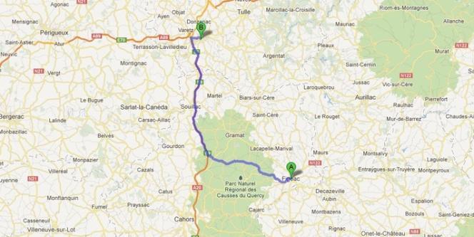 Le trajet de Figeac à Brive-la-Gaillarde emprunté par la femme qui a accouché sur l'autoroute, vendredi