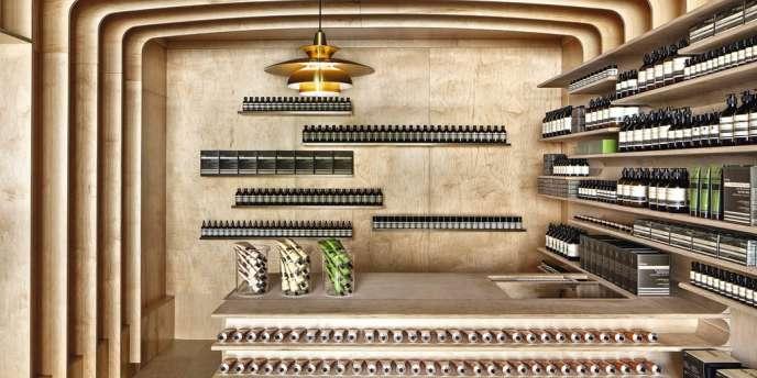 La dernière boutique de cosmétiques Aesop à New York, conçue par l'architecte australien Rodney Eggleston.