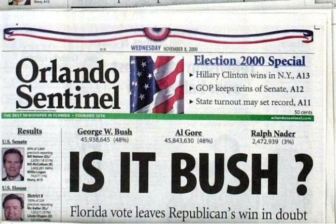 La Une du Orlando Sentiel après l'élection présidentielle de 2000.
