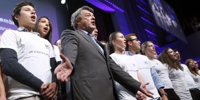 Jean-Louis Borloo, lors du premier rassemblement de l'UDI, l'union des démocrates et des indépendants.
