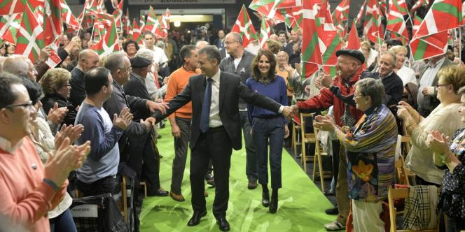 Inigo Urkullu, président du PNV lors d'un meeting électoral à Bilbao, vendredi 19 octobre 2012.