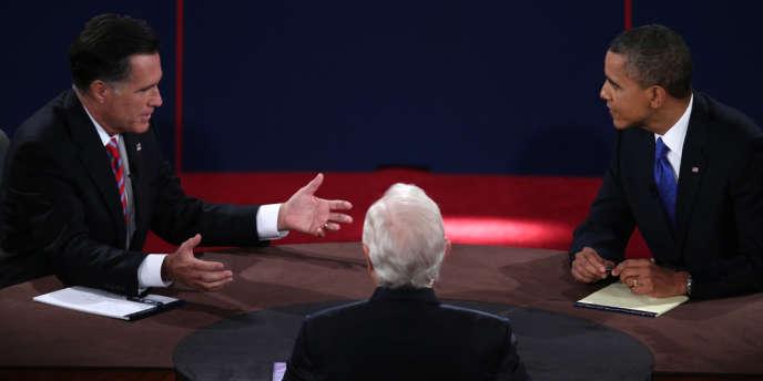 Mitt Romney et Barack Obama lors du débat du 22 octobre, à Boca Raton.