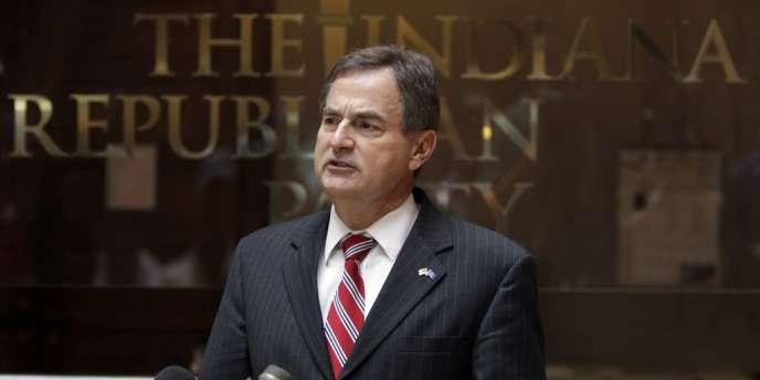 Richard Mourdock s'explique sur ses propos sur le viol et l'avortement, le 24 octobre 2012, à Indianapolis.