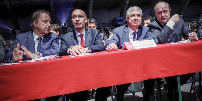 Jean-Pierre Bel, Harlem Désir, Claude Bartolone et Bruno Le Roux participent au 76e congrès du Parti socialiste, à Toulouse, vendredi 26 octobre.