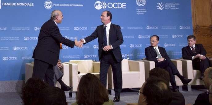 Le président de la République rencontrait, lundi 29 octobre à Paris, les dirigeants des cinq grandes organisations économiques internationales (OCDE, FMI, OMC, OIT, Banque mondiale). François Hollande à l'Elysée le 26 octobre 2012.