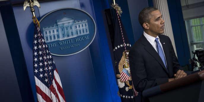 Barack Obama s'exprime dans la salle de presse de la Maison Blanche, lundi 29 octobre, au sujet de la catastrophe.