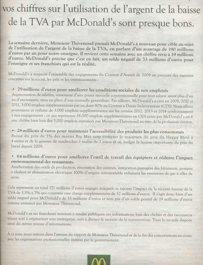 L'encart publicitaire de McDonald's dans la presse quotidienne du 30/10/2012.