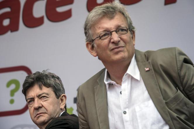 Jean-Luc Mélenchon et Pierre Laurent, le 26 août 2012, lors de l'université d'été du Parti de gauche à Saint-Martin-d'Hères (Isère).