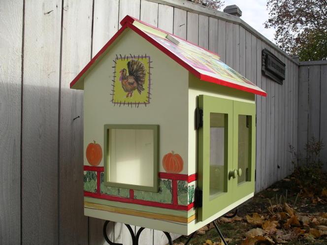 Un modèle de cabane à livres.