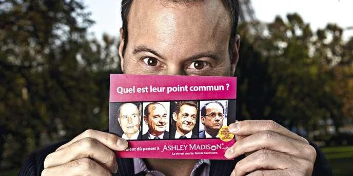 Quatre présidents français portant une marque de rouge à lèvres...  Une campagne provocante  soigneusement orchestrée par Noel Biderman. Photo:RGA/REA