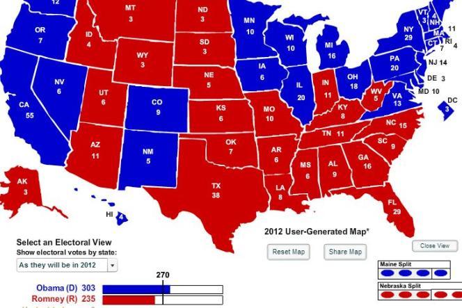 Dans ces conditions, la victoire d'Obama sera conséquente, avec 303 grands électeurs contre 235 pour Romney.