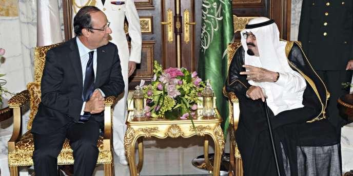 François Hollande et le roi Abdallah d'Arabie Saoudite à Jeddah, le 4 novembre 2012.