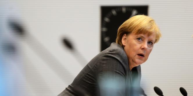 Angela Merkel, lors d'un rassemblement de la CDU/CSU, le 23 octobre à Berlin.
