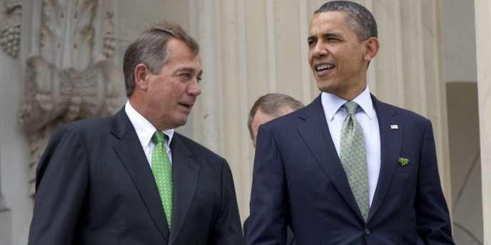 Barack Obama et le républicain John Boehner, en mars.