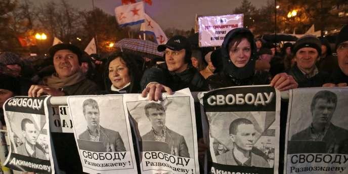 Manifestation de soutien aux opposants russes Vladimir Akimenkov et Leonid Razvozjaev, le 30 octobre à Moscou.