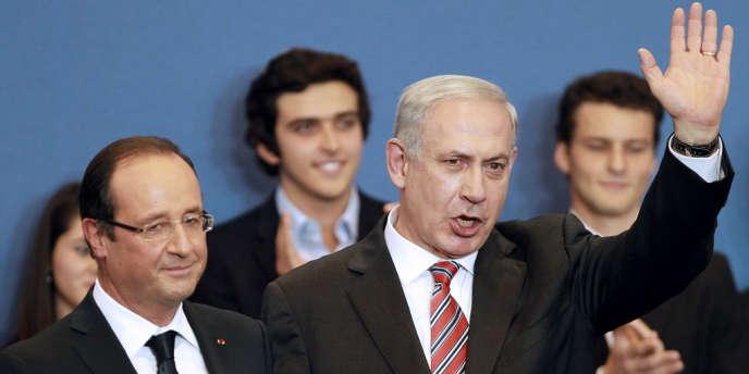 François Hollande et Benyamin Nétanyahou lors de la cérémonie d'hommage aux victimes juives de Mohamed Merah, le 1er novembre à Toulouse.