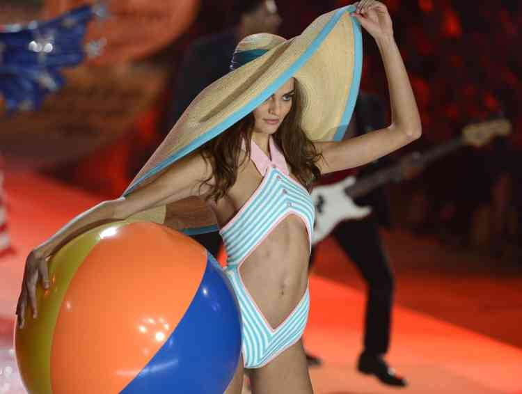 A model wears a swimsuit during the 2012 Victoria's Secret fashion show November 7, 2012 in New York. AFP PHOTO/TIMOTHY A. CLARY