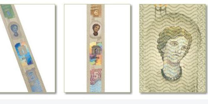 La BCE a dévoilé jeudi les trois nouveaux signes (le filigrane portrait et l'hologramme portrait) des prochains billets de 5 euros.
