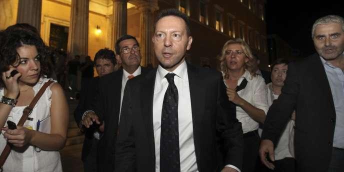 Yannis Stournaras, ministre des finances grec, à la sortie d'une réunion avec la troïka, en octobre.
