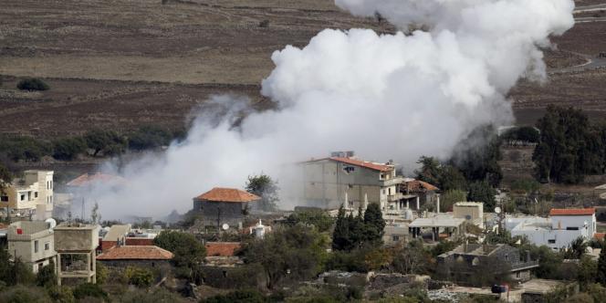 Tir israélien sur le village syrien de Bariqa, près de la frontière israélo-syrienne, lundi 12 novembre.