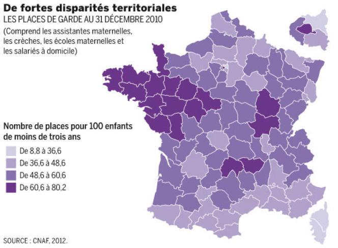 Répartition géographique du nombre de places de garde en France.