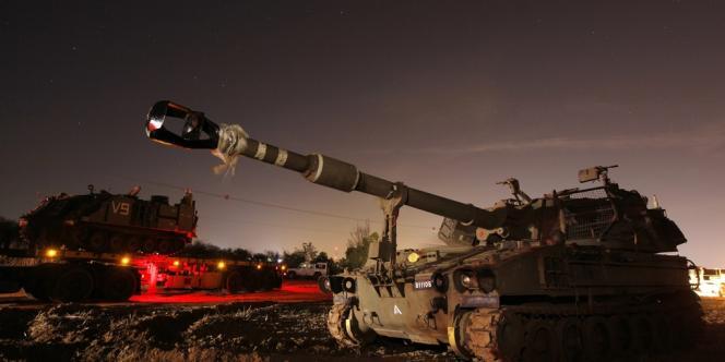 Un char israélien posté au nord de la bande de Gaza.