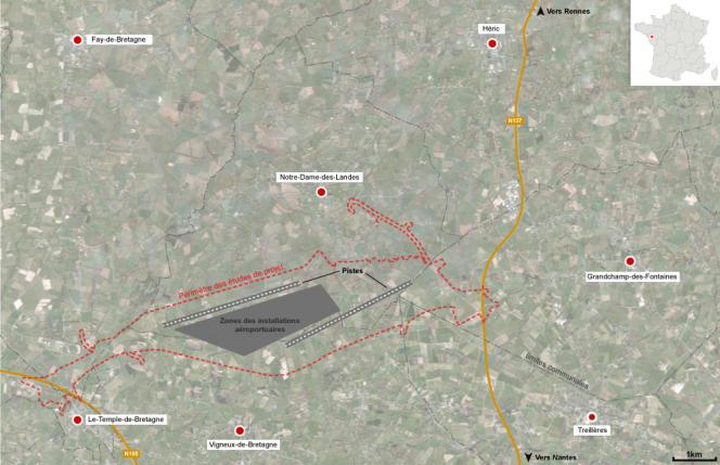 Carte de situation de l'aéroport de Notre-Dame-des-Landes.