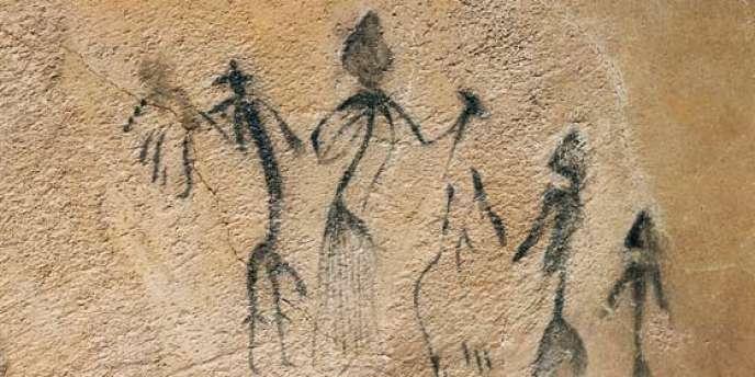Peintures rupestres d'El Cogul, Catalogne, âge de fer ou du bronze.