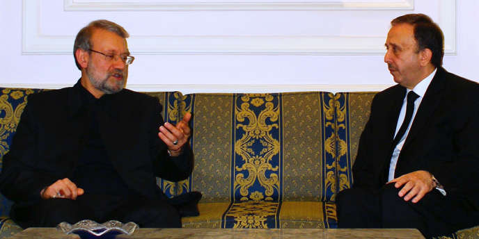 Le chef du Parlement iranien, Ali Larijani, à droite, face à son homologue syrien, Jihad Al-Laham, le 23 novembre à Damas.