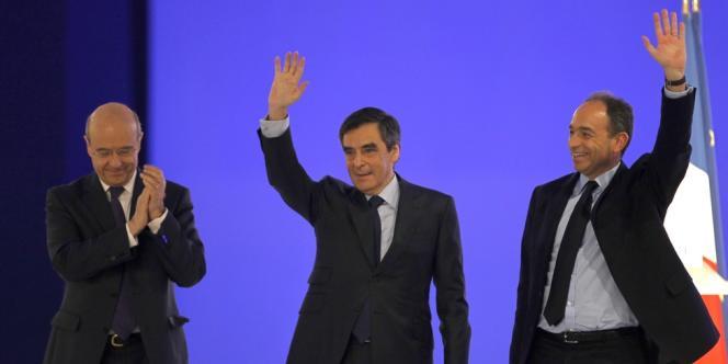 Alain Juppé, François Fillon et Jean-François Copé, le 11 mars, lors d'un meeting de campagne de Nicolas Sarkozy à Villepinte.