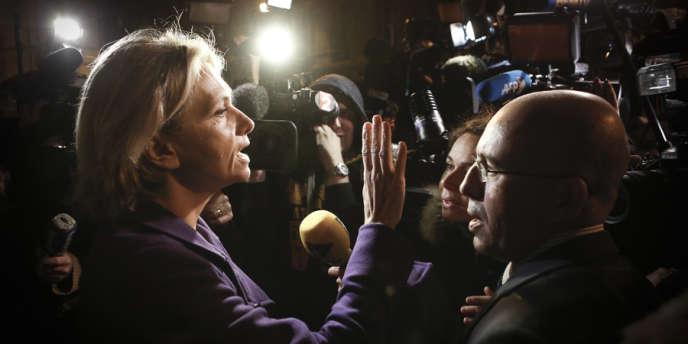 Valérie Pécresse et Eric Ciotti, devant l'Assemblée nationale après l'échec de la médiation d'Alain Juppé, le 25 novembre.