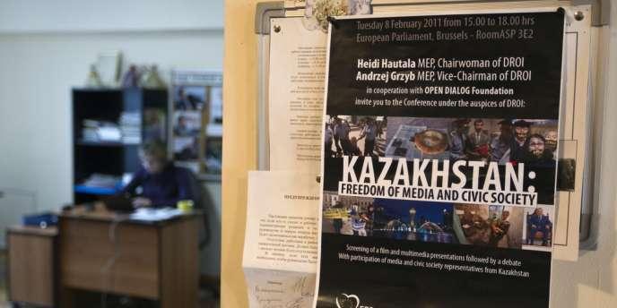 Les locaux du journal d'opposition Golos Respubliki (La Voix de la République) au Kazakhstan, Almaty le 21 novembre.