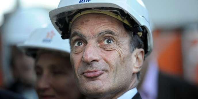 Henri Proglio, le patron d'EDF, inaugure le 12 novembre 2012 la centrale de Martigues, dans les Bouches-du-Rhône.
