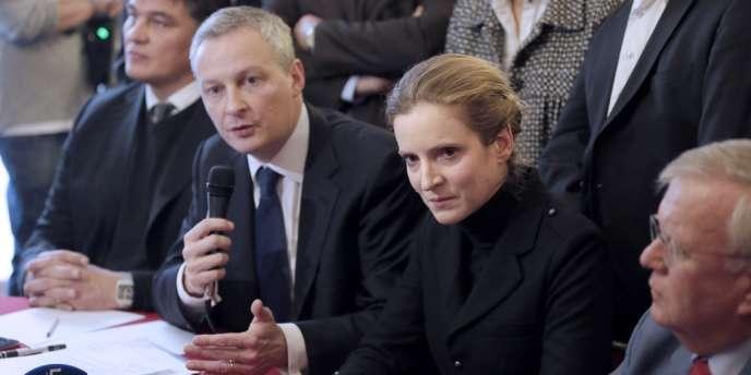 Bruno Le Maire et Nathalie Kosciusko-Morizet lors d'une conférence de presse à l'Assemblée nationale, le mardi 4 décembre.