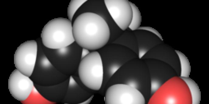 Structure chimique du bisphénol A : l'exposition in utero au perturbateur endocrinien serait à l'origine de taches sur les molaires et les incisives.