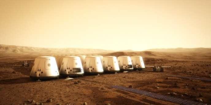 Image transmise par Mars One le 21 juin 2012, montrant la future implantation humaine prévue sur mars dès 2023.
