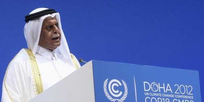 Abdullah bin Hamad Al-Attiyah, vice premier ministre du Qatar et président de la conférence.