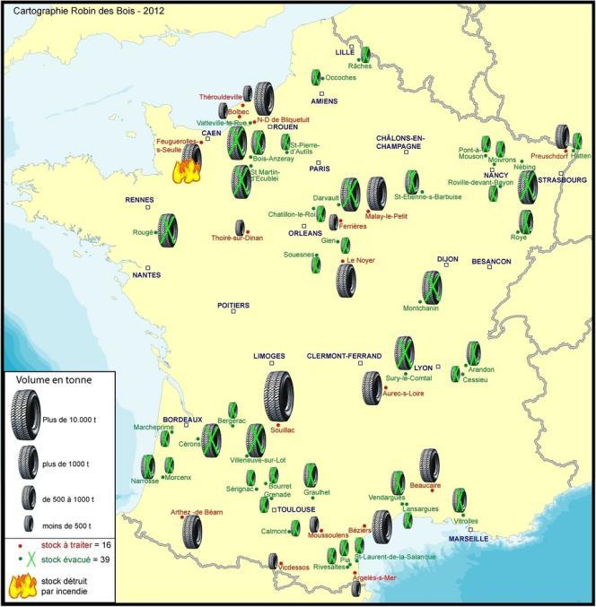 La carte de France des stocks de pneus démantelés et ceux restant à traiter, au 11 décembre 2012.